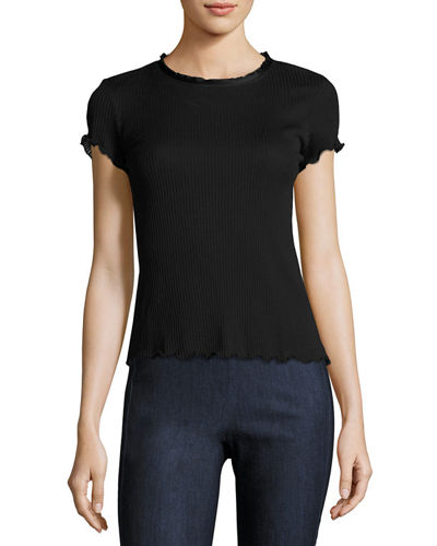 Rag & Bone Dillion Ribbed Scalloped Tee and