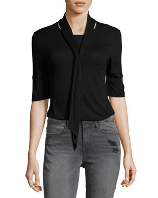 FRAME Tie-Neck 3/4-Sleeve Top