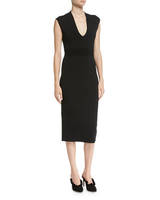 MICHAEL Michael Kors V-Neck Sleeveless Jersey Midi Dress