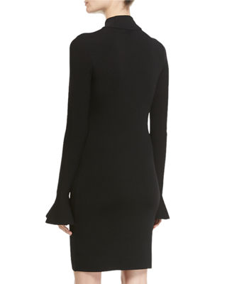 Long Bell-Sleeve Sheath Dress