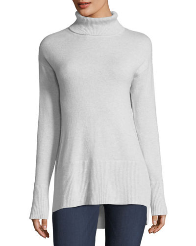 Neiman Marcus Cashmere Collection Side-Slit Cashmere Turtleneck