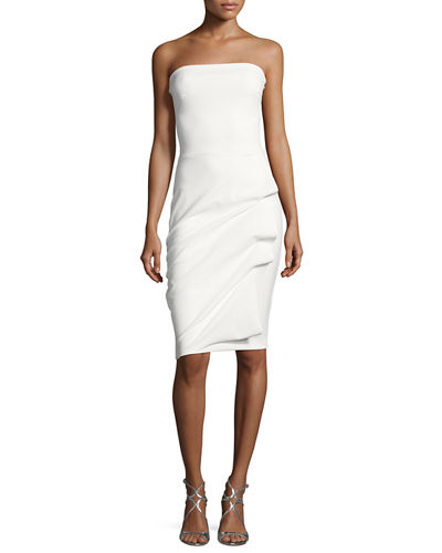 Clotilde Strapless Draped-Side Cocktail Dress