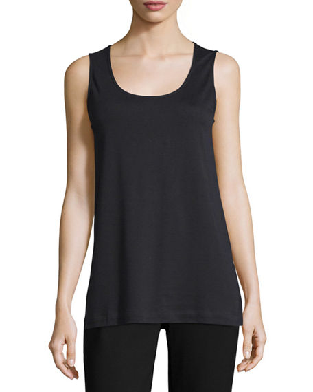 Joan Vass Petite Soft Scoop-Neck Tank