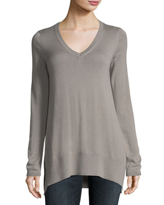 Neiman Marcus Cashmere Collection Superfine V-Neck Cashmere