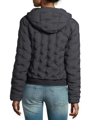 Image 2 of 3: Quilted Puffer Hooded Bomber Jacket