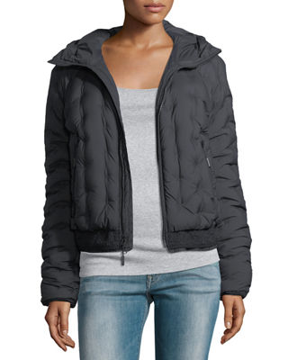Image 3 of 3: Quilted Puffer Hooded Bomber Jacket