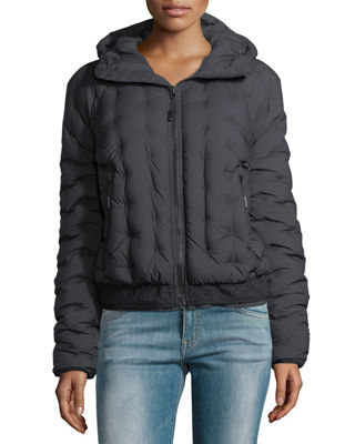 Image 1 of 3: Quilted Puffer Hooded Bomber Jacket