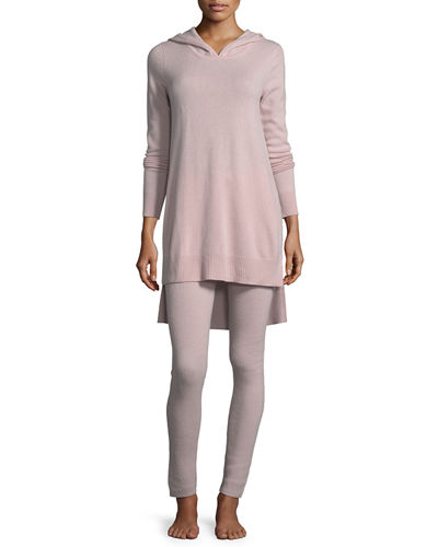 Neiman Marcus Cashmere Collection Cashmere Hoodie & Ribbed