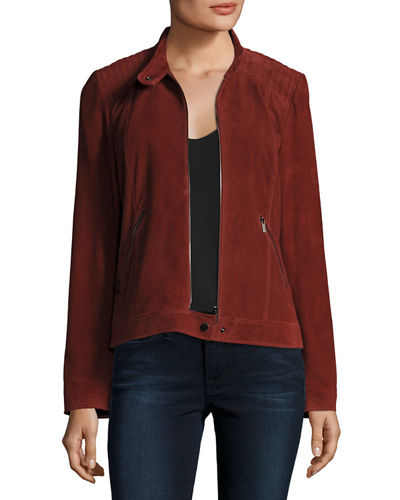 Neiman Marcus Leather Collection Suede Moto Jacket w/