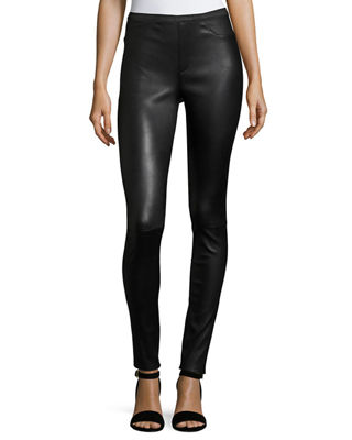 Neiman Marcus Leather Collection Stretch-Leather Leggings