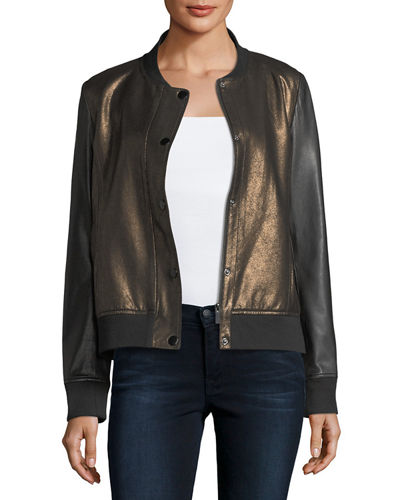 Neiman Marcus Leather Collection Sueded Leather Bomber Jacket