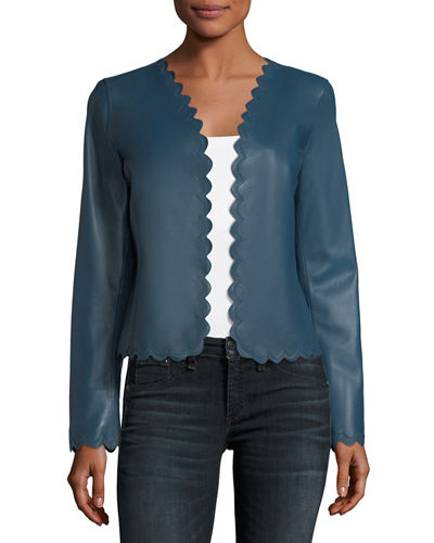 Neiman Marcus Leather Collection Scalloped Cropped Leather Jacket