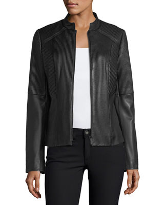 Ribbed Quilted Center-Zip Leather Moto Jacket