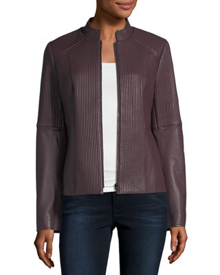 Neiman Marcus Leather Collection Ribbed Quilted Center-Zip