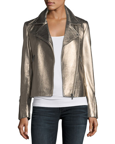 Neiman Marcus Leather Collection Zip-Front Metallic Leather Moto