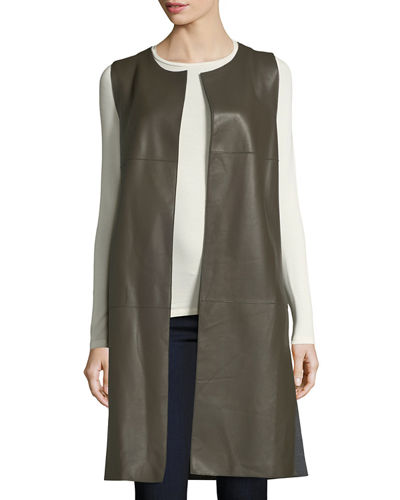 Long Paneled Leather Vest