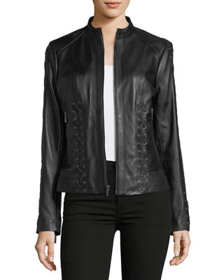 Lace-Up Leather Moto Jacket