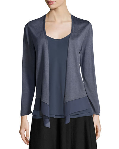 Long-Sleeve Knit Cardigan W/ Chiffon Trim