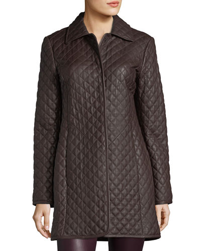 Neiman Marcus Leather Collection Women's Quilted Leather Trench
