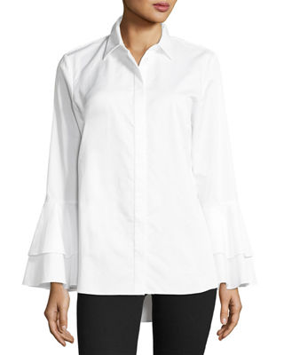 Go Silk Ruffle-Sleeve Cotton Shirt
