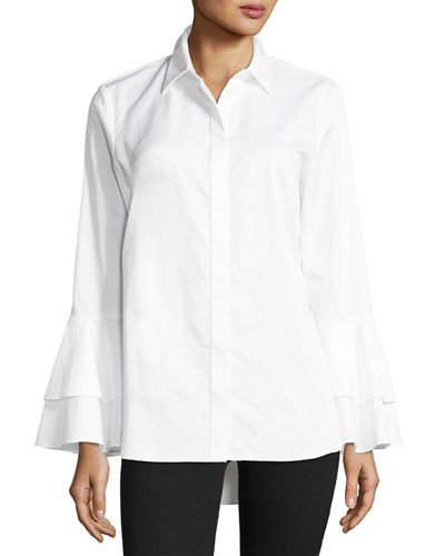 Ruffle-Sleeve Cotton Shirt, Plus Size