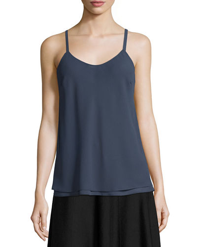 Paired Up Scoop-Neck Layered Tank, Petite