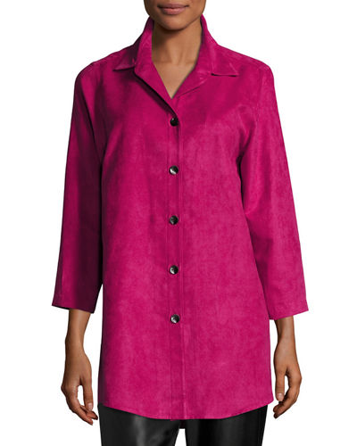 Caroline Rose Modern Faux-Suede Long Shirt, Plus Size