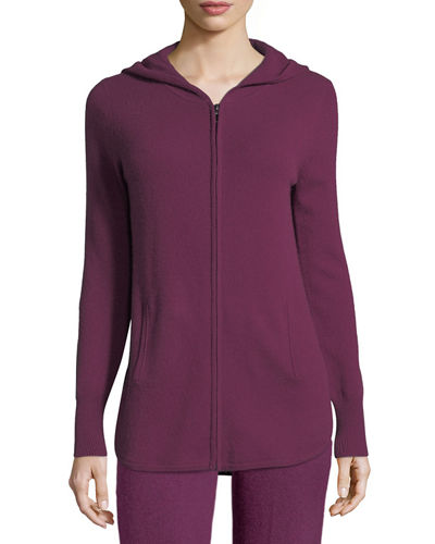 Cashmere Hooded Zip-Front Jacket