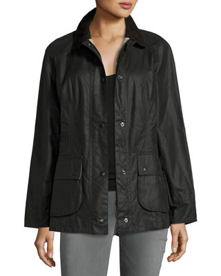 BARBOUR Beadnell Corduroy-Trimmed Waxed-Cotton Jacket in Black