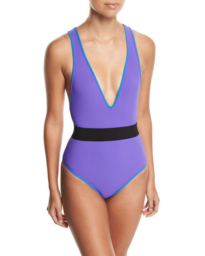Deep V Belted One-Piece Swimsuit