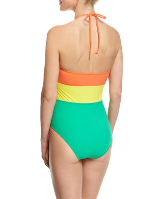 Image 2 of 2: Halter-Neck One-Piece Swimsuit