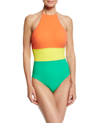 Halter-Neck One-Piece Swimsuit, Orange Yellow Green Multi