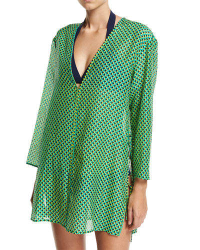 Diane von Furstenberg Long-Sleeve V-Neck Tied Mini Dress