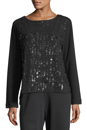 Joan Vass Luxe Cotton Interlock Sequin-Front Top