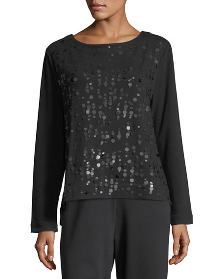 Joan Vass Plus Size Luxe Cotton Interlock Sequin-Front Top