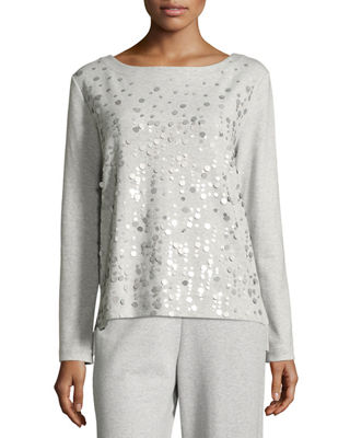 Joan Vass Luxe Cotton Interlock Sequin-Front Top, Plus