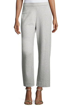 Joan Vass Petite Stretch-Interlock Ankle Casual Pants