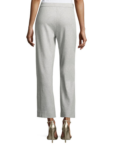 Plus Size Stretch-Interlock Ankle Casual Pants