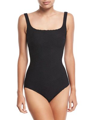 Image 1 of 2: Essence Square-Neck One-Piece Swimsuit