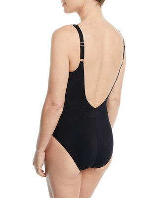 Image 2 of 3: Lattice Shaped Square-Neck One-Piece Swimsuit