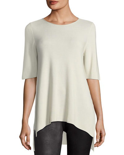 Eileen Fisher Ponte Leather-Blocked Leggings, Petite and Matching