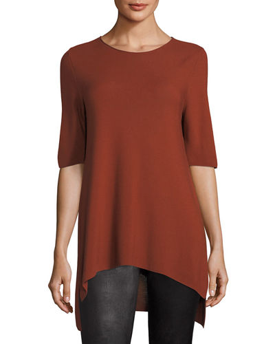 Eileen Fisher Half-Sleeve Tencel Links Sweater, Petite