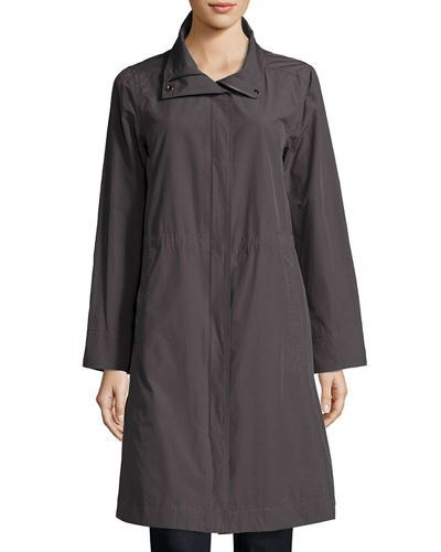 High-Collar Knee-Length Organic Cotton Jacket, Plus Size
