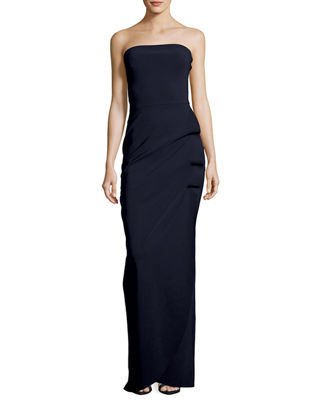 Clotilde Strapless Long Gown w/ Halter Strap