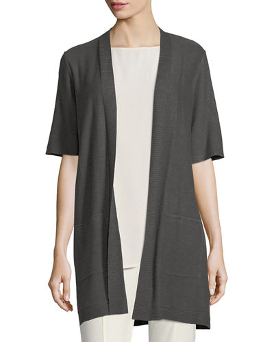 Long Simple Half-Sleeve Cardigan, Petite