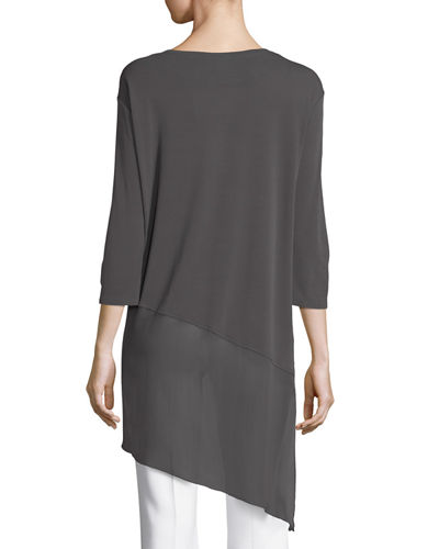 Bateau-Neck 3/4-Sleeve Stretch Jersey Tunic Top