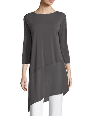 Eileen Fisher Bateau-Neck 3/4-Sleeve Stretch Jersey Tunic Top,