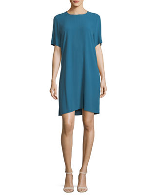 Crinkle Crepe Round-Neck Short-Sleeve Dress