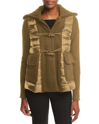 Moncler Maglia Toggle-Front Jacket w/ Puffer Combo