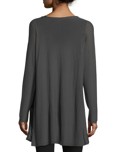 Long-Sleeve Seamless Knit Ballet-Neck Tunic
